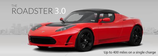 telsa roadster 3.0 400 mile range new battery