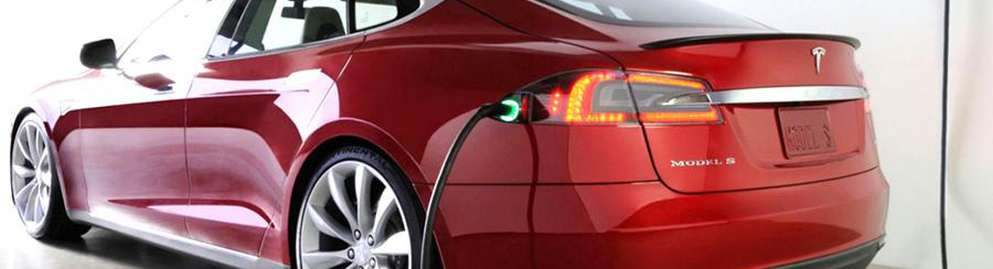 charge electric car tesla model S red