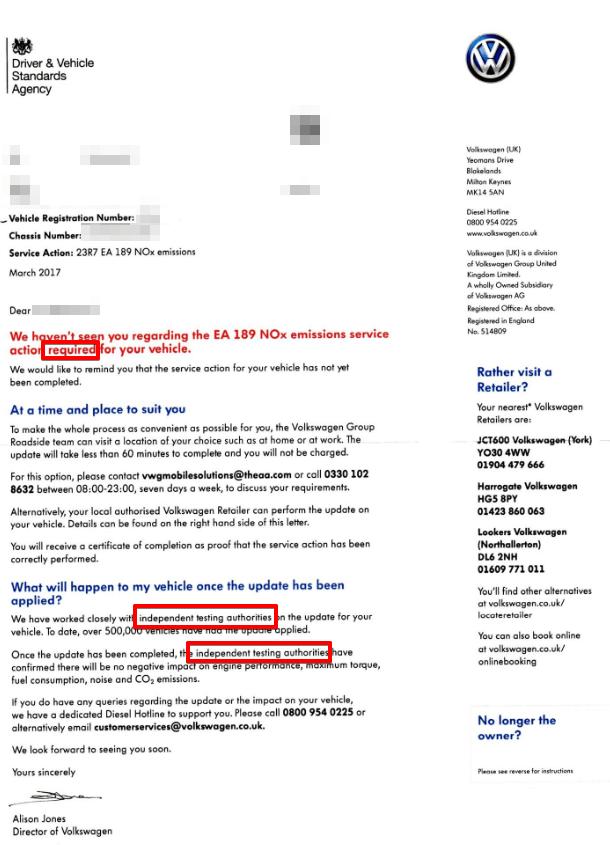 vw emissions fix letter