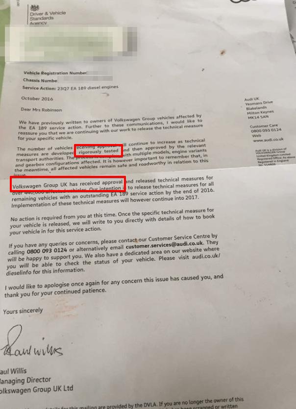 vw emissions fix letter audi 2