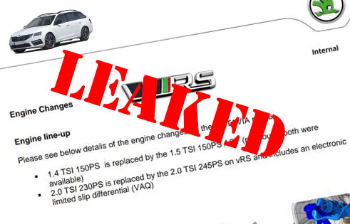 Leaked internal Skoda document shows Octavia VRS MY19 changes DPF & OPF